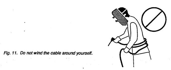 Do not wind the cable around yourself