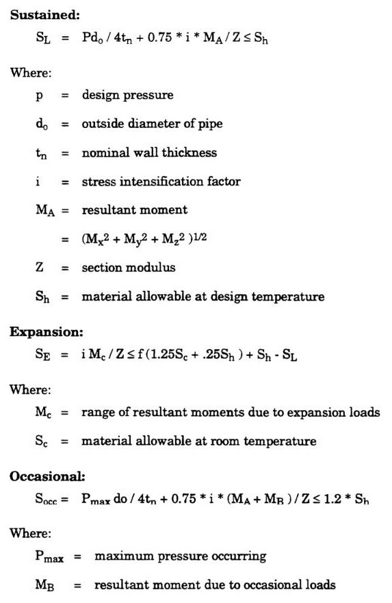 piping sustained, expansion, operation and occasional stress calculation equation as per RCC-M C