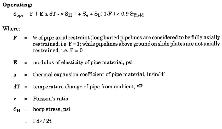 piping operation stress calculation equation as per ASME B31.4 Fuel Gas Piping