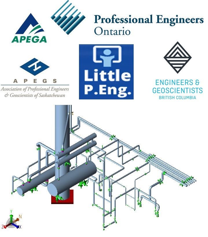 Piping Stress Analysis Services - Piping Packages Verification & Provincial Stamping across canada. By Meena Rezkallah, P.Eng. Piping Stress engineer - professional Engineer - Professional engineering stamp.