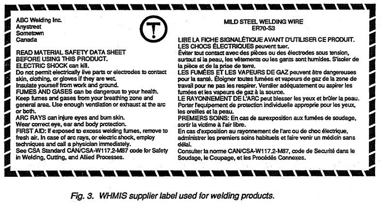 WHMIS supplier label used for welding products