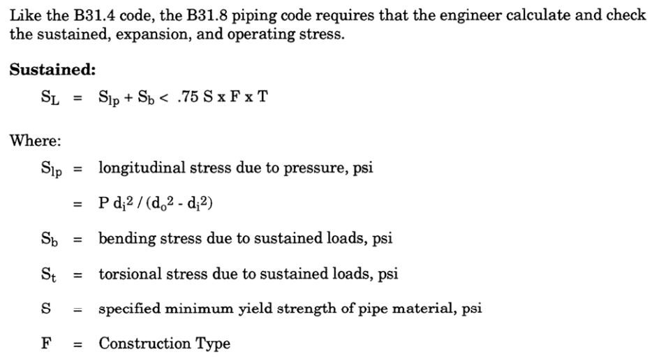piping sustained stress calculation equation as per ASME B31.8 Gas Transmission and Distribution Piping Code