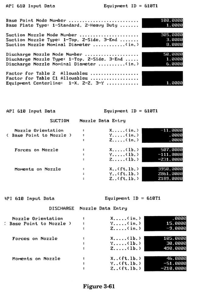 API 610 input data in caesar ii by meena rezkallah, p.eng., the best piping stress engineer & professional engineer in calgary alberta canada. meenarezkallah.com pipe stress analysis services