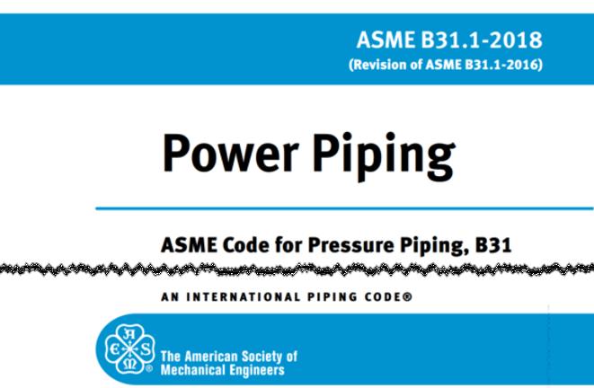 ASME B31.1 power piping training course.