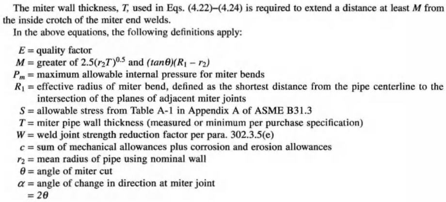 ASME B31.3 Mitter Bend design equations and variables