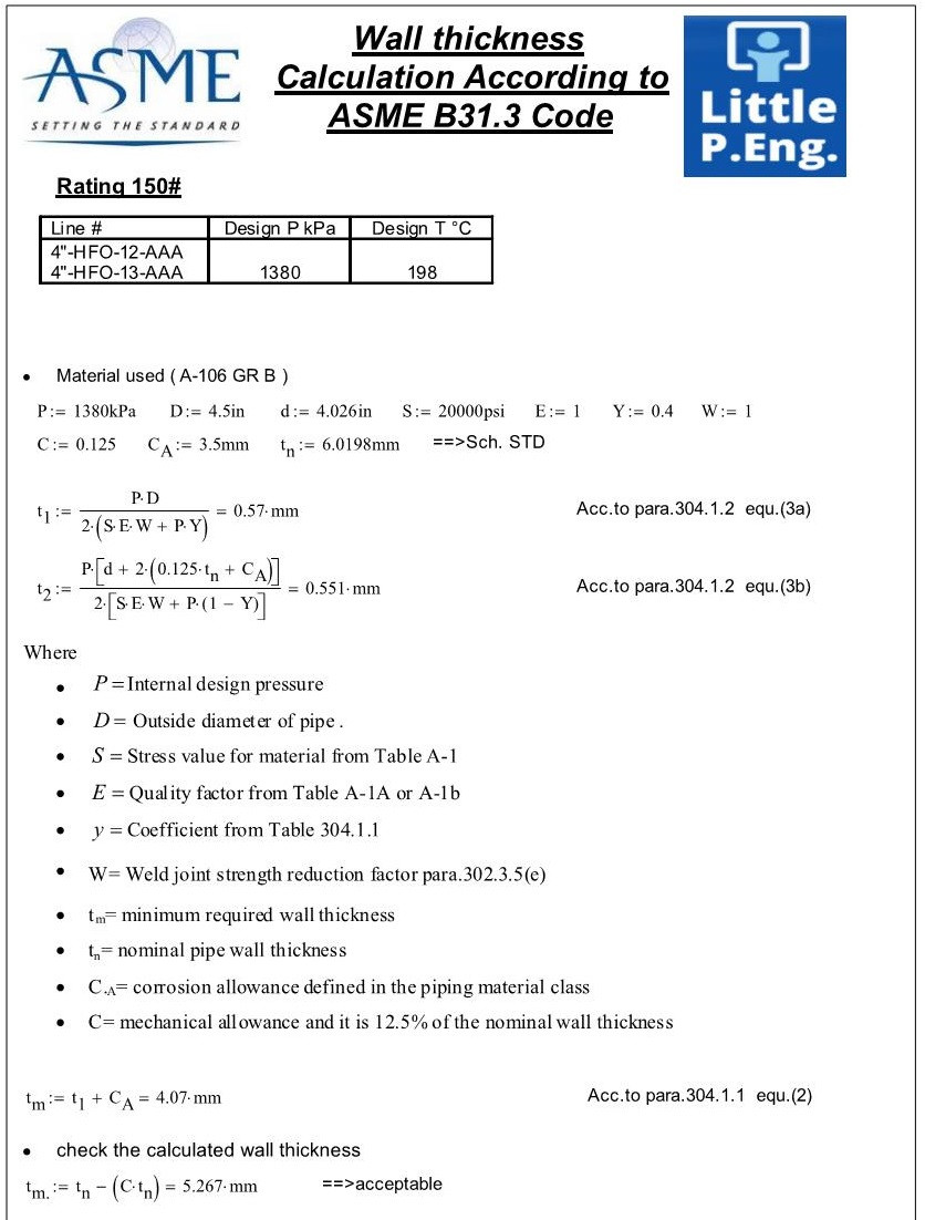 Pipe Design Calculations Sample According to ASME B31.3 Latest Edition