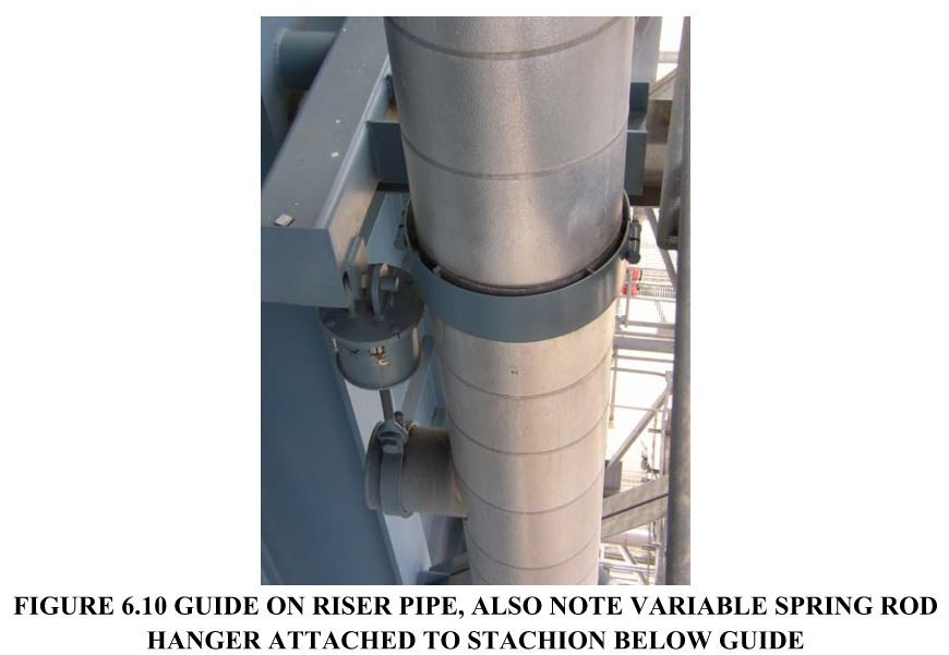 FIGURE 6.10 GUIDE ON RISER PIPE, ALSO NOTE VARIABLE SPRING ROD HANGER ATTACHED TO STACHION BELOW GUIDE