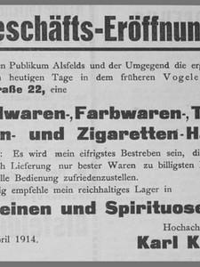 Karl Kipping GmbH - Geschäftseröffnung 1. April 1914