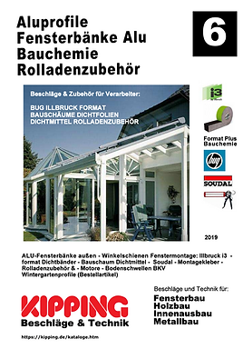 Kipping Katalog Aluprofile, Fensterbänke Alu, Bauchemie, Rolladenzubehör