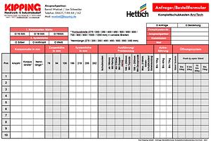 Schubkastenformular Hettich ArciTech Schubkastensystem