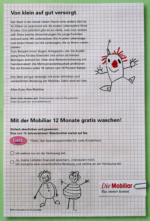 Marcel Köhler, Freier Texter, Ittigen, Bern, Schreiben, Die Mobiliar, Vericherung, Vorsorge, Paket, Direktion Bern