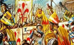 A battle scene between Guelphs and Ghibellines