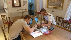 Engineering Students Studying Circuits in the Rooney Family Center Library