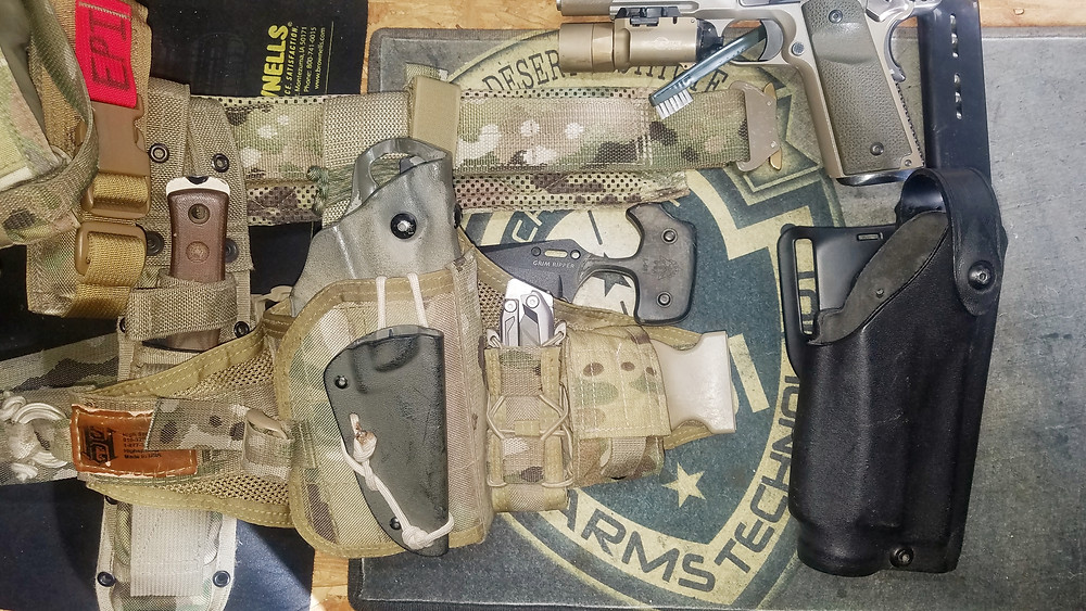 Drop-Leg:  Compared to regular Belt Mounted Duty Holster; both are made by Safariland; Drop-Leg platform is from HSGI