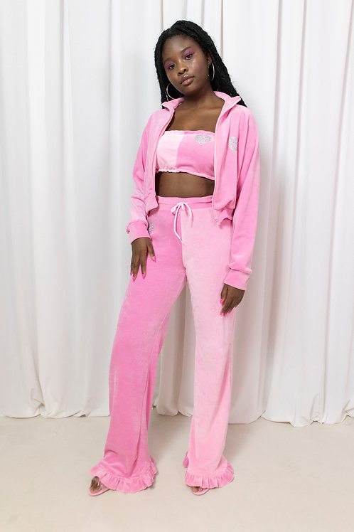 Pink on pink velour trackie pant