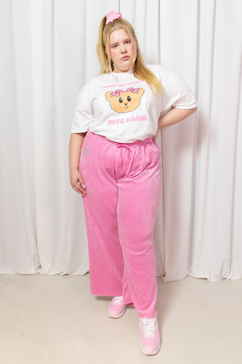 That wide fit velour pant pink