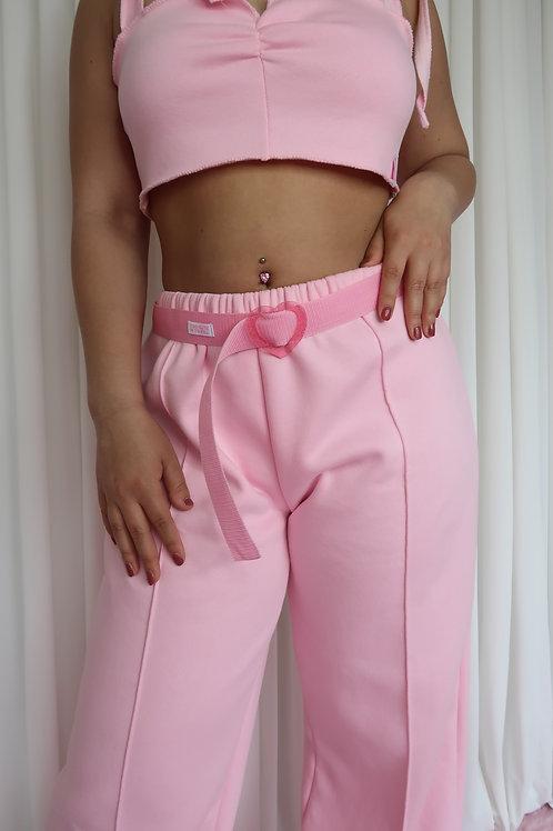 Glitter heart belt pink