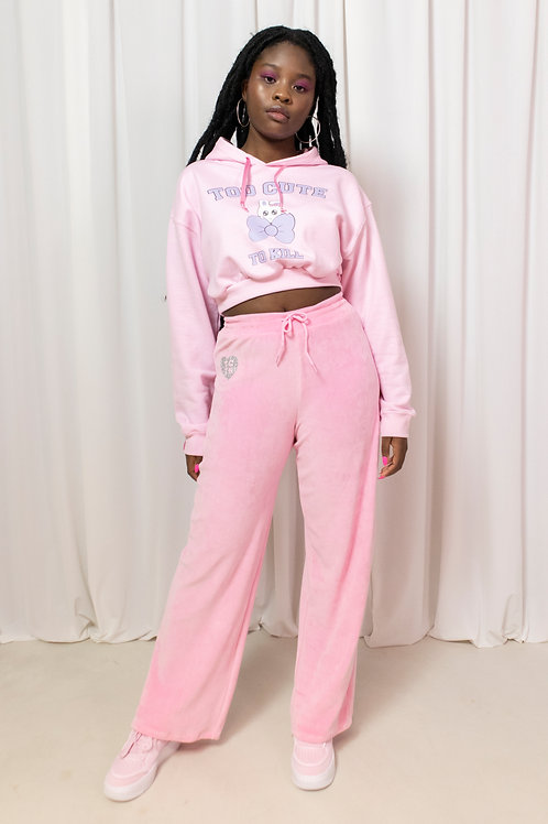 That wide fit velour pant light pink