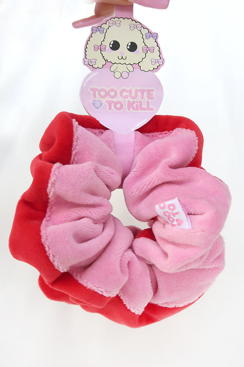Colorblock scrunchie set red-pink