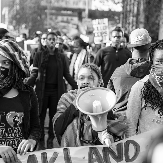 Black Lives Matter march in Oakland, California in 2014 (Image Source: Annette Bernhardt, December 14th, 2014)