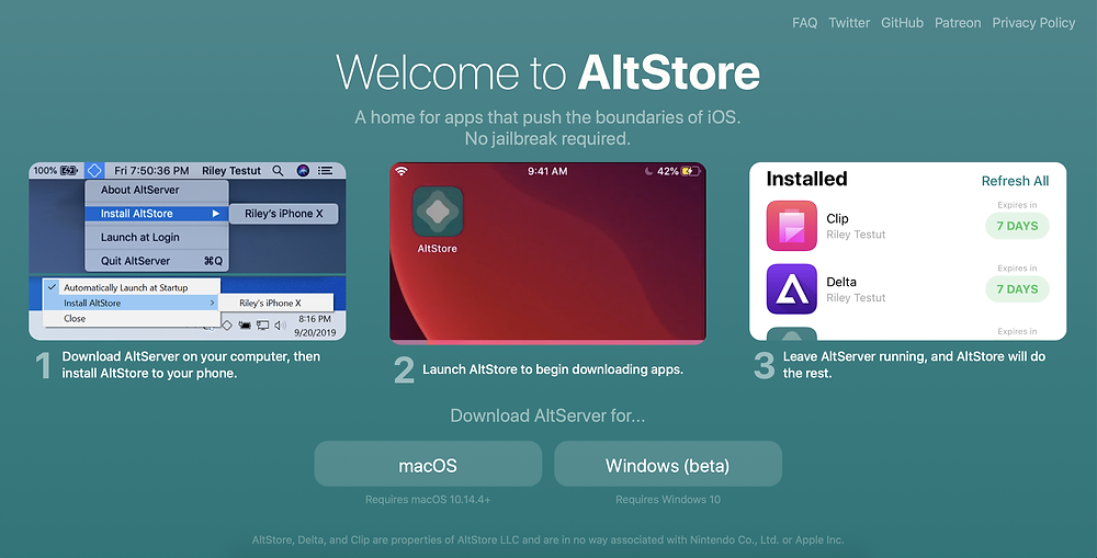 Screenshot of the AltStore homepage
