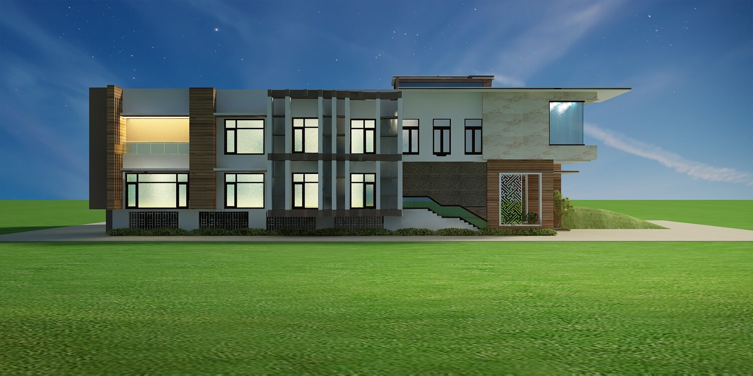 Luxurious villa east side view