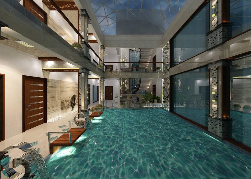 Indoor swimming pool interior
