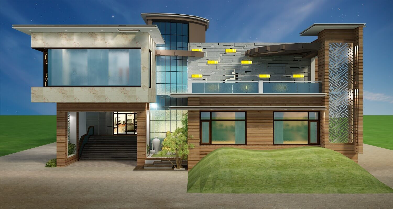 Luxurious villa front elevation