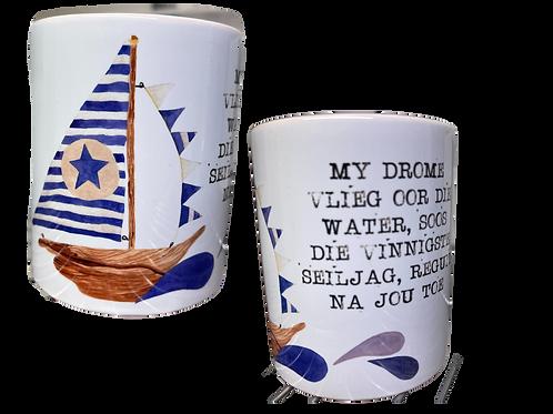 "#21. Coffee Mug  with handle ""My drome vlieg...."""