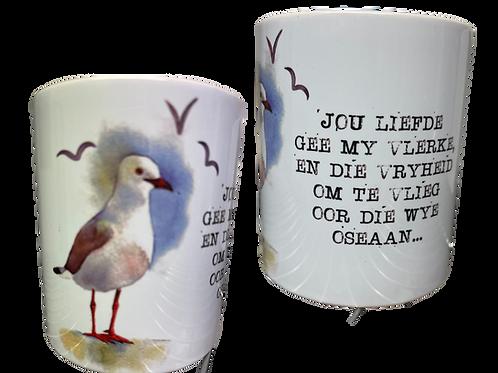 """#18 Coffee Mug with handle  """"Jou liefde gee my vlerke...."""""""