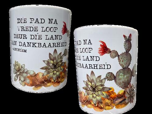 """#20. Coffee Mug with handle """"Die pad na Vrede...."""""""
