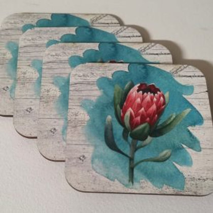 Fynbos Turquoise Protea Coasters 4's