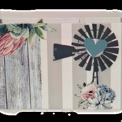 Windmill Teal Design - Cutlery Holder