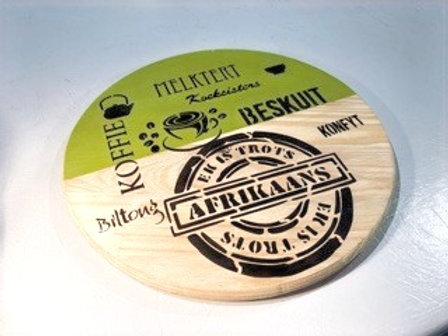 """Decorated large round Serving Board-""""Trots Afrikaans"""""""