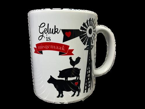 "#28 Coffee Mug ""Geluk is tuisgemaak"""