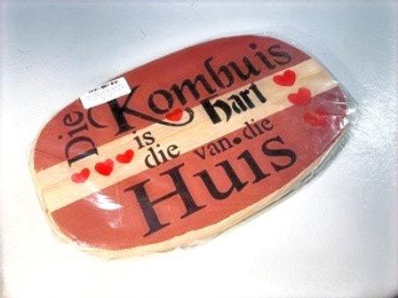 """Decorated Oval Serving Board-""""Kombuis is hart van die Huis"""""""""""