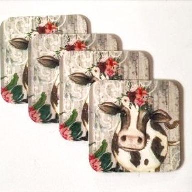 Fynbos Cow Design coasters 4's