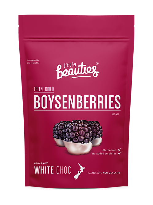 Little Beauties Freeze-Dried Boysenberries dipped in White Chocolate 30g