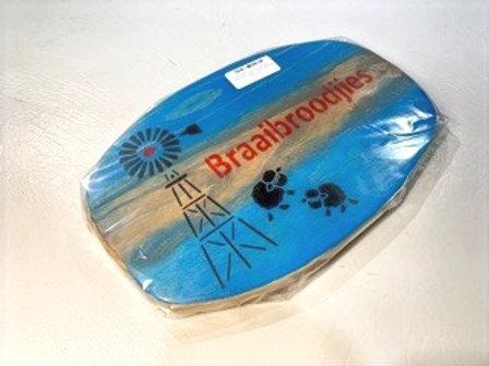 "Decorated Oval Serving Board-""Braaibroodjies"""