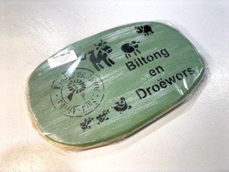 """Decorated Oval Serving Board """"Biltong en droëwors"""""""