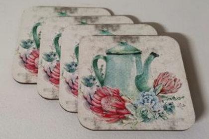 Fynbos Teal Teapot  Coasters