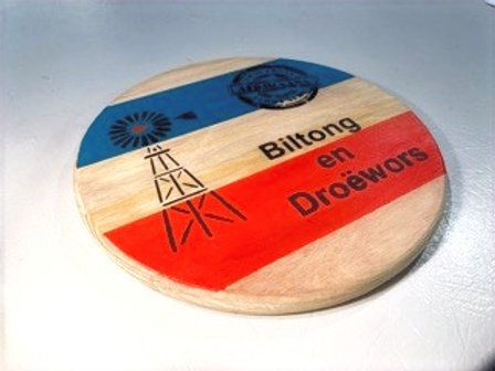 """Decorated small round Serving Board-""""Biltong en Droëwors"""""""""""