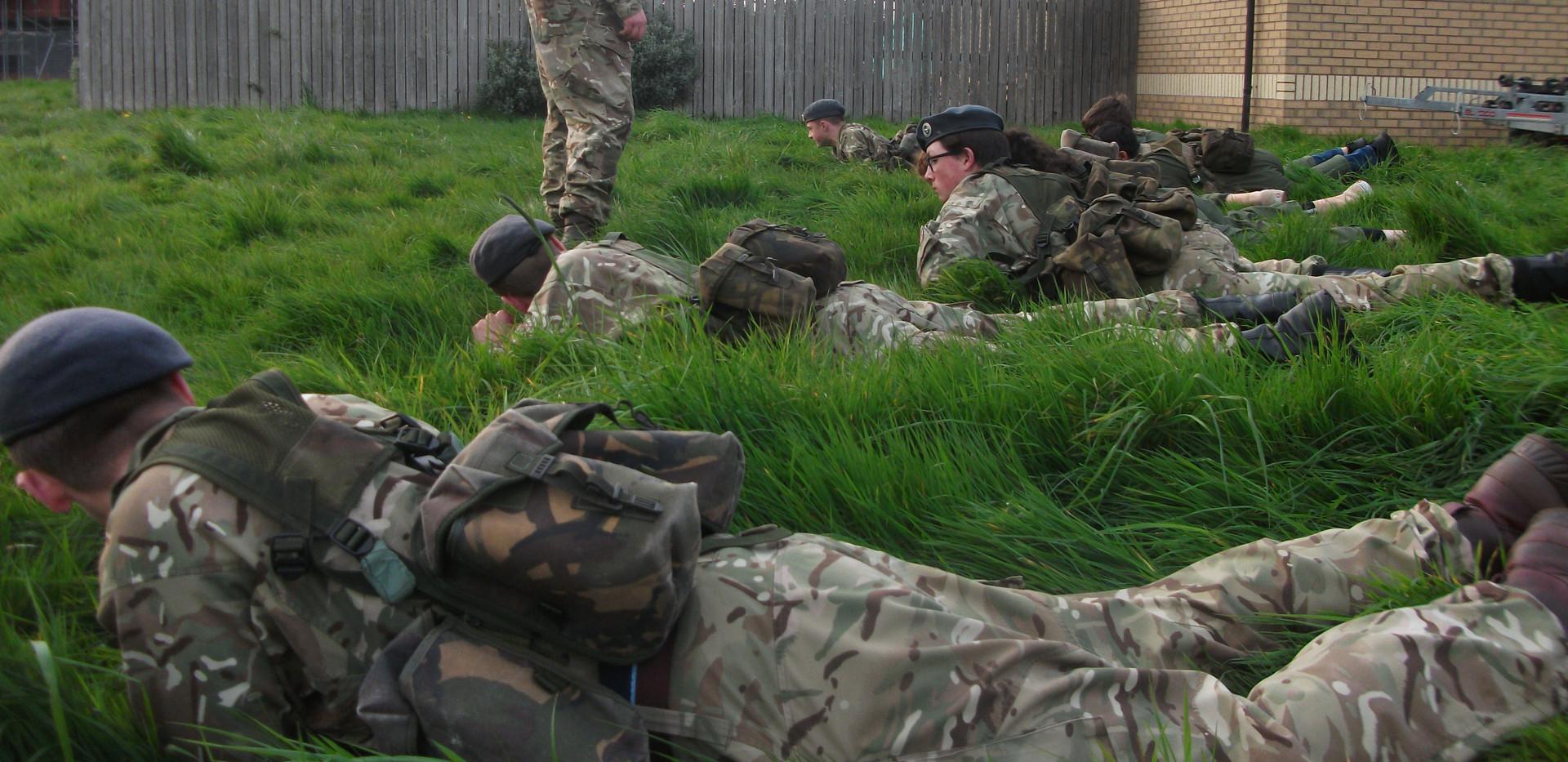 Cadets learning fieldcraft movements