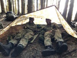 Cadets in a basha (Fieldcraft weekend)