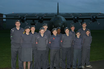Cadets at the end of a day of flying
