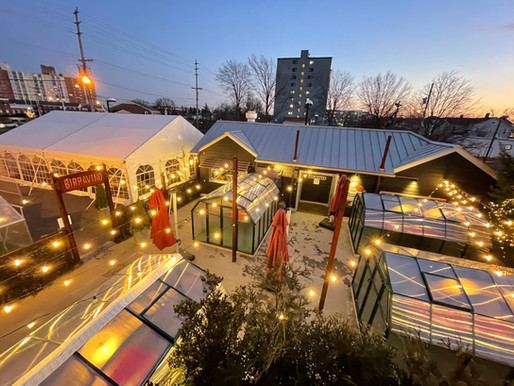 """Cottages, Greenhouses, Outdoor Tent at """"BirraVillage"""" in Red Bank. Wine, Italian food and options."""