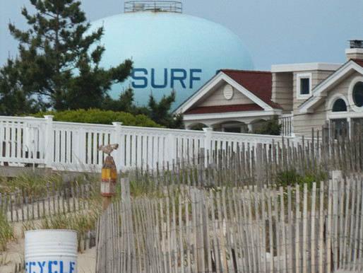 Surf City: 2 Water Towers in 1 Mile. Beats Calif at Name Game. Beachy LBI  commercial strip.