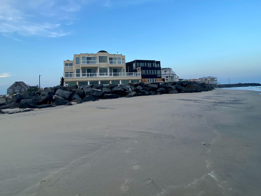 Longport: Island's End at The Point. Best Dog Beach. Mansions. Smiley Face Tower. View to the Bay.