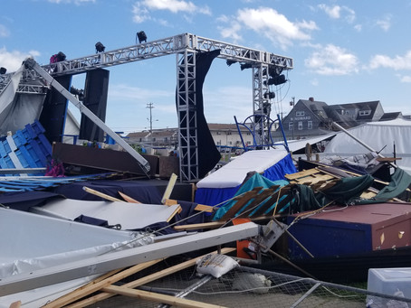 UPDATED: Tuesday, Isaias Wrecks Surflight Theatre's Outdoor Tent on LBI.  Show goes on Thursday!