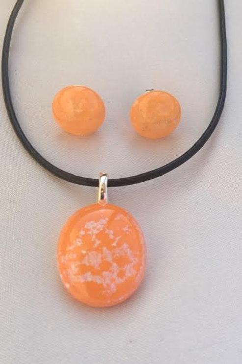 """""""Orange Cream Circles"""" medium pendant and medium stud set"""